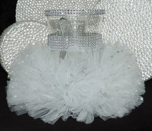 White Tulle Hurricane Tealight Wedding Centerpiece