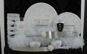 Cake Server Set - Silver Glitter with Pearl Flower