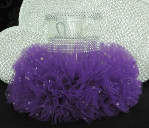 Dark Purple Tulle Hurricane Tealight Wedding Centerpiece