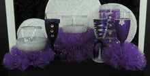 Load image into Gallery viewer, Dark Purple Tulle Corset Cylinder Vase - Wedding Centerpiece