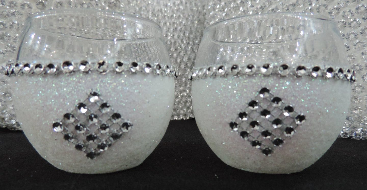 White Iridescent Glitter Candle Holders - Set of 4