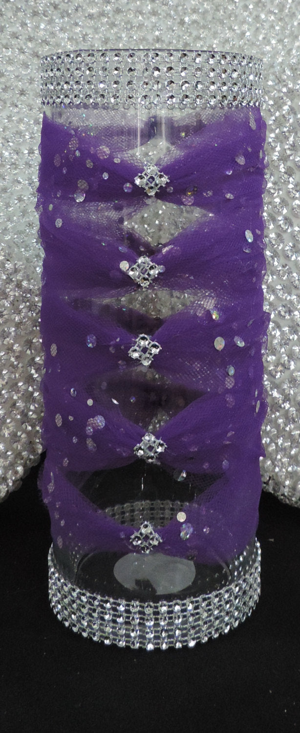 Dark Purple Tulle Corset Cylinder Vase - Wedding Centerpiece