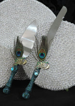 Load image into Gallery viewer, Cake Server Set - Teal Glitter with Peacock Feathers