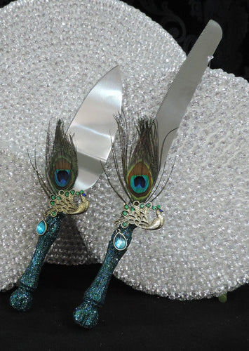 Cake Server Set - Teal Glitter with Peacock Feathers