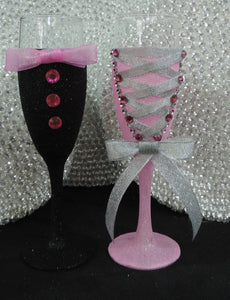 Corset Wine Glass - Bubblegum Pink Glitter with Silver Lace Up