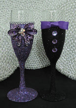 Load image into Gallery viewer, Purple Multi Glitter Wine Flute with Rhinestone Butterfly