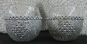 Silver Glitter Candle Holders - Set of 4