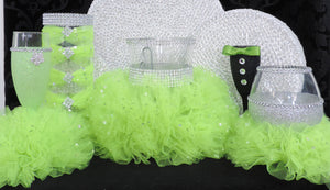 Lime Tulle Hurricane Tealight Wedding Centerpiece