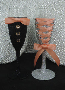 Corset Wine/Champagne Flute Glass - Silver Glitter with Peach Lace up
