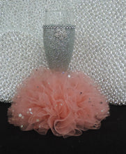 Load image into Gallery viewer, Silver Glitter Wine Flute with Peach/Coral Tulle Skirt
