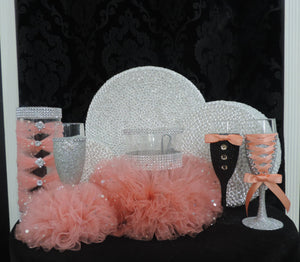 Silver Glitter Wine Flute with Peach/Coral Tulle Skirt