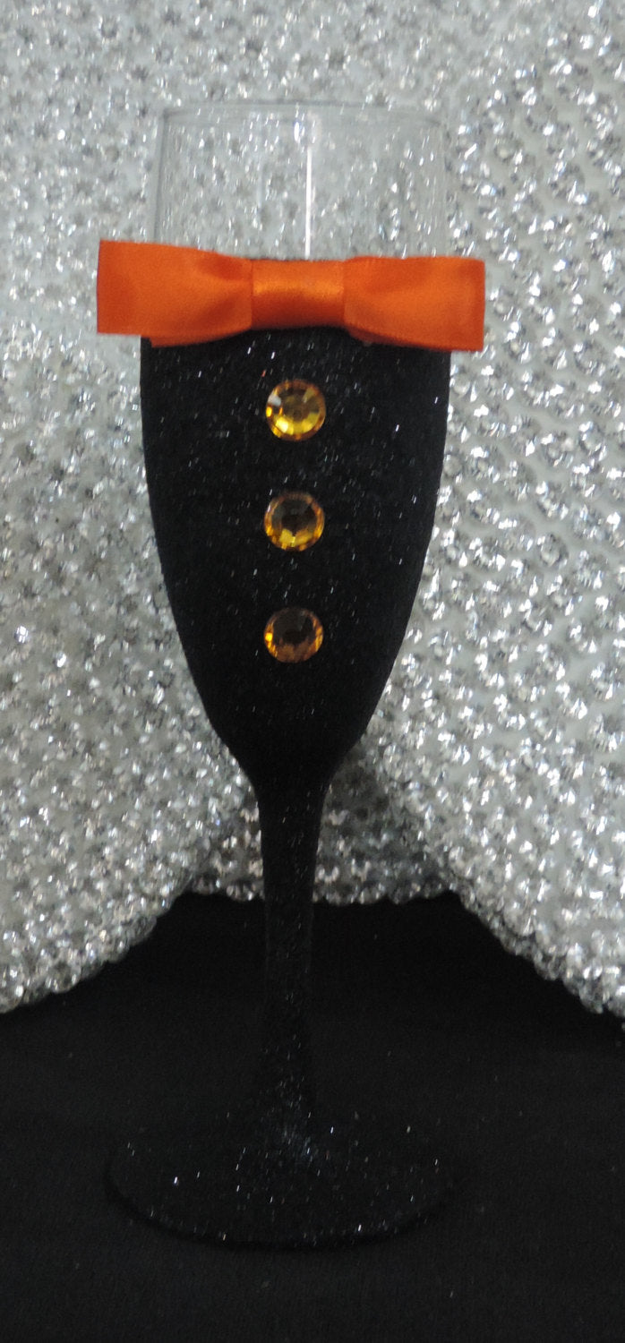 Black Glitter Tuxedo Wine/Champagne Flute Glass with Orange Bow Tie