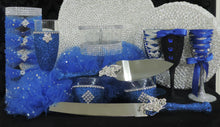Load image into Gallery viewer, Cake Server Set - Royal Blue Glitter with Silver Butterfies
