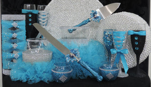 Turquoise Glitter Wine Flute with Rhinestone Butterfly