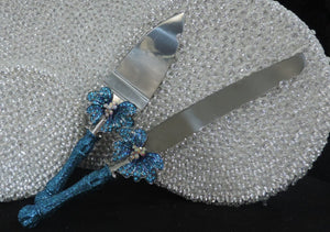 Luxury Cake Server Set - Turquoise Glitter Butterfly
