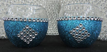 Load image into Gallery viewer, Turquoise Glitter Candle Holders - Set of 4
