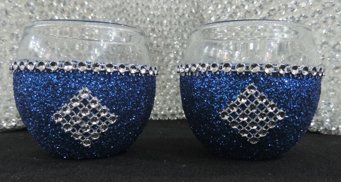 Royal Blue Glitter Candle Holders - Set of 4