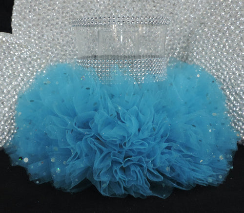 Turquoise Tulle Hurricane Tealight Wedding Centerpiece
