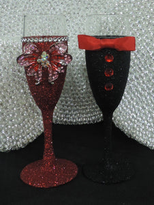 Red Glitter Wine Flute with Rhinestone Butterfly