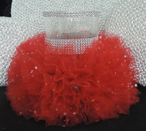 Red Tulle Hurricane Tealight Wedding Centerpiece
