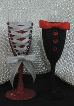 Load image into Gallery viewer, Corset Wine/Champagne Flute Glass - Red Glitter with Silver Lace up