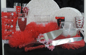 Corset Wine/Champagne Flute Glass - Red Glitter with Silver Lace up
