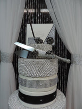 Load image into Gallery viewer, Silver Glitter/Black Three Piece Wedding Set - Guestbook, Pen, Knife & Server Set