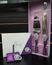 Load image into Gallery viewer, Deep Purple Glitter 3 Piece Wedding Set - Guestbook, Pen, Knife & Server Set