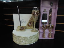 Load image into Gallery viewer, Gold Glitter/Butterfly Wedding Set - Guestbook, Pen, Knife & Server Set