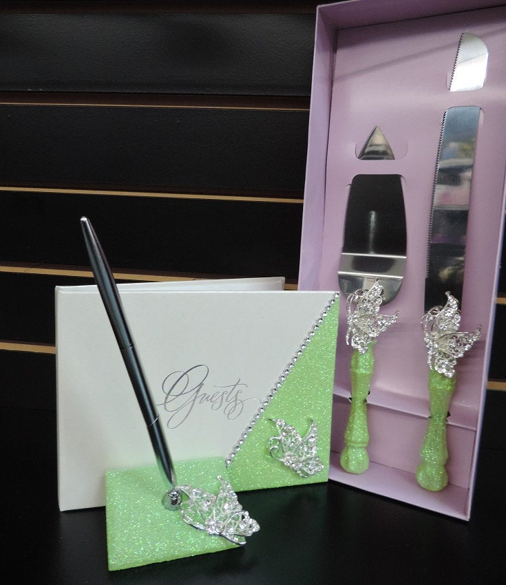 Lime Green Glitter/Butterfly Three Piece Wedding Set - Guestbook, Pen, Knife & Server Set
