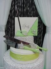 Load image into Gallery viewer, Lime Green Glitter/Butterfly Three Piece Wedding Set - Guestbook, Pen, Knife & Server Set