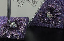 Load image into Gallery viewer, Purple Multi Glitter Butterfly Three Piece Wedding Set - Guestbook, Pen, Knife & Server Set