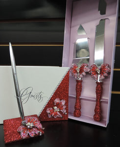 Red Glitter/Butterfly Three Piece Wedding Set - Guestbook, Pen, Knife & Server Set