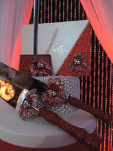 Load image into Gallery viewer, Red Glitter/Butterfly Three Piece Wedding Set - Guestbook, Pen, Knife & Server Set