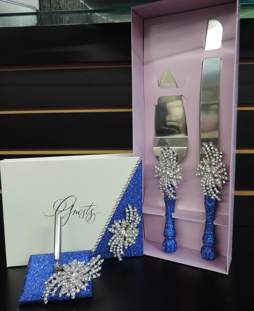 Royal Blue Glitter Three Piece Wedding Set - Guestbook, Pen, Knife & Server Set