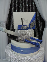 Load image into Gallery viewer, Royal Blue Glitter Three Piece Wedding Set - Guestbook, Pen, Knife & Server Set