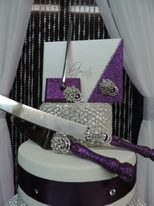 Deep Purple Glitter 3 Piece Wedding Set - Guestbook, Pen, Knife & Server Set