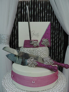 Fuchsia Glitter Three Piece Wedding Set - Guestbook, Pen, Knife & Server Set