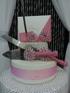 Light Pink Glitter Three Piece Brooch Wedding Set - Guestbook, Pen, Knife & Server Set