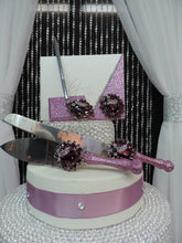 Load image into Gallery viewer, Rose Pink Glitter Three Piece Wedding Set - Guestbook, Pen, Knife & Server Set