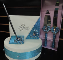 Load image into Gallery viewer, Turquoise Glitter/Butterfly Three Piece Wedding Set - Guestbook, Pen, Knife & Server Set
