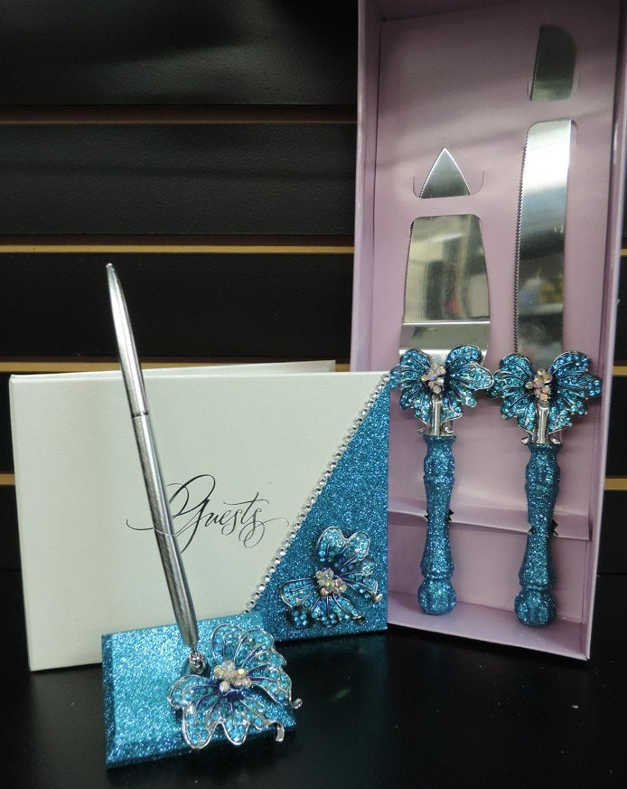 Turquoise Glitter/Butterfly Three Piece Wedding Set - Guestbook, Pen, Knife & Server Set
