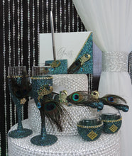 Load image into Gallery viewer, Teal Glitter Peacock Three Piece Wedding Set - Guestbook, Pen, Knife & Server Set