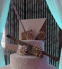 Load image into Gallery viewer, Champagne Glitter Three Piece Wedding Set - Guestbook, Pen, Knife & Server Set