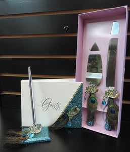 Teal Glitter Peacock Three Piece Wedding Set - Guestbook, Pen, Knife & Server Set