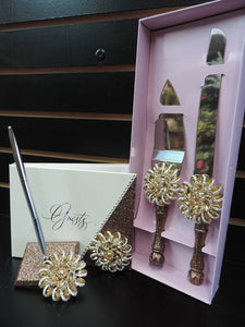 Champagne Glitter Three Piece Wedding Set - Guestbook, Pen, Knife & Server Set
