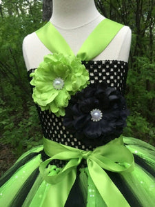 Lime/Black Sequin Tutu Dress