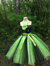 Load image into Gallery viewer, Lime/Black Sequin Tutu Dress