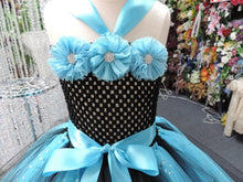 Load image into Gallery viewer, Turquoise/Black Sequin Tutu Dress