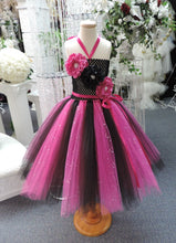 Load image into Gallery viewer, Fuchsia/Black Sequin  Corset Tutu Dress